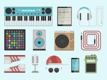 Van de instrumentenbreakdance van de hiphop de bijkomende musicus van de de tikmuziek expressieve vectorillustratie van DJ vector illustratie