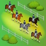 Van de Issometricrenpaarden en dame jockey in eenvormig De ruiter Springende Spelen van de Atletensportvrouw kampioen racing vector illustratie