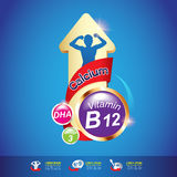 Van de jonge geitjes Omega Calcium en Vitamine Concept Logo Gold Kids Royalty-vrije Stock Afbeeldingen