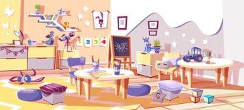 Van de jonge geitjeskinderdagverblijf of kleuterschool ruimte vectorbinnenland vector illustratie