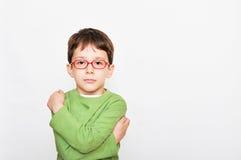 6 van de jongenséénjarigen gelaatsuitdrukking Stock Foto's