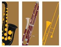 Van de kaartenhulpmiddelen van wind muzikale instrumenten van het de musicusmateriaal akoestische het orkest vectorillustratie vector illustratie