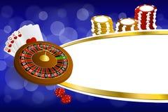 Van de kaartenspaanders van de achtergrond abstracte blauwe gouden casinoroulette de crapsillustratie Stock Afbeelding