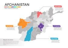 Van de kaartinfographics van Afghanistan het vectormalplaatje met gebieden en wijzertekens vector illustratie