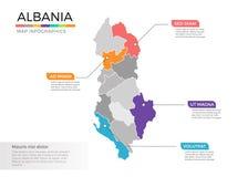 Van de kaartinfographics van Albanië het vectormalplaatje met gebieden en wijzertekens stock illustratie
