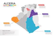 Van de kaartinfographics van Algerije het vectormalplaatje met gebieden en wijzertekens vector illustratie