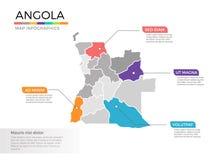 Van de kaartinfographics van Angola het vectormalplaatje met gebieden en wijzertekens royalty-vrije illustratie