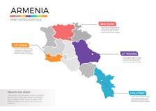 Van de kaartinfographics van Armenië het vectormalplaatje met gebieden en wijzertekens stock illustratie