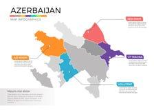 Van de kaartinfographics van Azerbeidzjan het vectormalplaatje met gebieden en wijzertekens vector illustratie