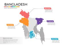 Van de kaartinfographics van Bangladesh het vectormalplaatje met gebieden en wijzertekens royalty-vrije illustratie