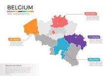Van de kaartinfographics van België het vectormalplaatje met gebieden en wijzertekens stock illustratie