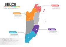 Van de kaartinfographics van Belize het vectormalplaatje met gebieden en wijzertekens royalty-vrije illustratie