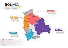 Van de kaartinfographics van Bolivië het vectormalplaatje met gebieden en wijzertekens vector illustratie