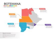 Van de kaartinfographics van Botswana het vectormalplaatje met gebieden en wijzertekens stock illustratie