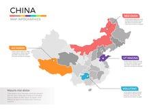 Van de kaartinfographics van China het vectormalplaatje met gebieden en wijzertekens vector illustratie