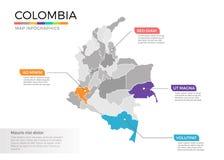 Van de kaartinfographics van Colombia het vectormalplaatje met gebieden en wijzertekens vector illustratie