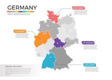 Van de kaartinfographics van Duitsland het vectormalplaatje met gebieden en wijzertekens vector illustratie