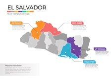 Van de kaartinfographics van El Salvador het vectormalplaatje met gebieden en wijzertekens stock illustratie