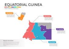 Van de kaartinfographics van Equatoriaal-Guinea het vectormalplaatje met gebieden en wijzertekens stock illustratie
