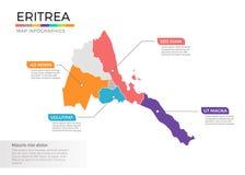 Van de kaartinfographics van Eritrea het vectormalplaatje met gebieden en wijzertekens stock illustratie