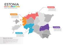 Van de kaartinfographics van Estland het vectormalplaatje met gebieden en wijzertekens royalty-vrije illustratie