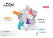 Van de kaartinfographics van Frankrijk het vectormalplaatje met gebieden en wijzertekens vector illustratie