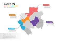 Van de kaartinfographics van Gabon het vectormalplaatje met gebieden en wijzertekens vector illustratie