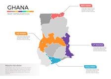 Van de kaartinfographics van Ghana het vectormalplaatje met gebieden en wijzertekens stock illustratie