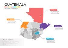 Van de kaartinfographics van Guatemala het vectormalplaatje met gebieden en wijzertekens vector illustratie