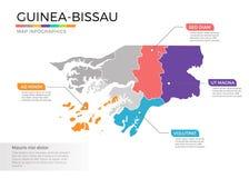 Van de kaartinfographics van Guinea-Bissau het vectormalplaatje met gebieden en wijzertekens vector illustratie