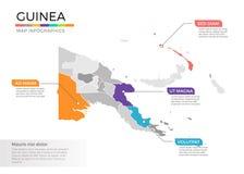 Van de kaartinfographics van Guinea het vectormalplaatje met gebieden en wijzertekens vector illustratie