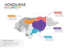 Van de kaartinfographics van Honduras het vectormalplaatje met gebieden en wijzertekens royalty-vrije illustratie