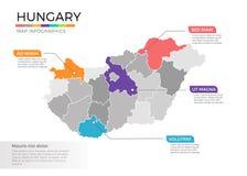 Van de kaartinfographics van Hongarije het vectormalplaatje met gebieden en wijzertekens royalty-vrije illustratie