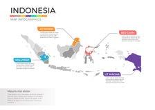 Van de kaartinfographics van Indonesië het vectormalplaatje met gebieden en wijzertekens royalty-vrije illustratie