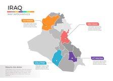 Van de kaartinfographics van Irak het vectormalplaatje met gebieden en wijzertekens vector illustratie