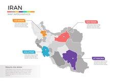 Van de kaartinfographics van Iran het vectormalplaatje met gebieden en wijzertekens royalty-vrije illustratie
