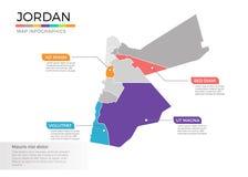 Van de kaartinfographics van Jordanië het vectormalplaatje met gebieden en wijzertekens royalty-vrije illustratie