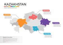 Van de kaartinfographics van Kazachstan het vectormalplaatje met gebieden en wijzertekens stock illustratie