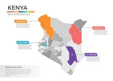Van de kaartinfographics van Kenia het vectormalplaatje met gebieden en wijzertekens stock illustratie