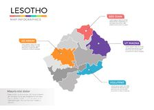 Van de kaartinfographics van Lesotho het vectormalplaatje met gebieden en wijzertekens royalty-vrije illustratie