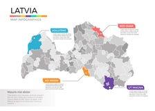 Van de kaartinfographics van Letland het vectormalplaatje met gebieden en wijzertekens vector illustratie