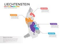 Van de kaartinfographics van Liechtenstein het vectormalplaatje met gebieden en wijzertekens royalty-vrije illustratie