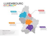 Van de kaartinfographics van Luxemburg het vectormalplaatje met gebieden en wijzertekens vector illustratie