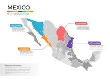 Van de kaartinfographics van Mexico het vectormalplaatje met gebieden en wijzertekens royalty-vrije illustratie