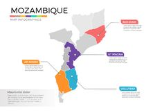 Van de kaartinfographics van Mozambique het vectormalplaatje met gebieden en wijzertekens stock illustratie