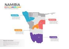 Van de kaartinfographics van Namibië het vectormalplaatje met gebieden en wijzertekens royalty-vrije illustratie