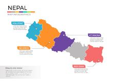 Van de kaartinfographics van Nepal het vectormalplaatje met gebieden en wijzertekens royalty-vrije illustratie