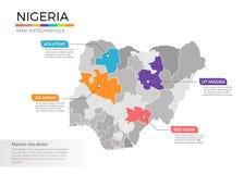 Van de kaartinfographics van Nigeria het vectormalplaatje met gebieden en wijzertekens royalty-vrije illustratie