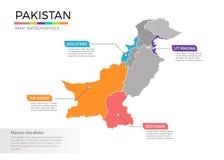 Van de kaartinfographics van Pakistan het vectormalplaatje met gebieden en wijzertekens vector illustratie