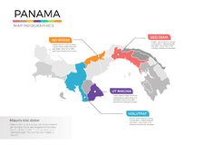 Van de kaartinfographics van Panama het vectormalplaatje met gebieden en wijzertekens vector illustratie